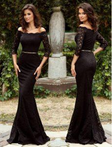 Rochie neagra lunga cu maneci treisferturi