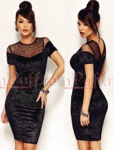 rochie scurta neagra din catifea