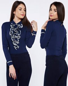 body dama albastru cu volanase