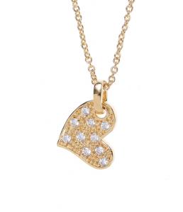 colier placat cu aur in forma de inima