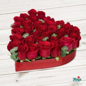 cutie cu flori inima, cadou online